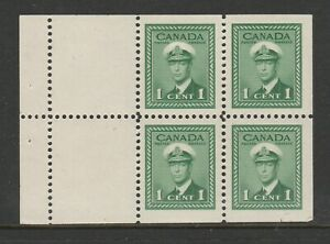 Canada 1942 1c Booklet pane of 4 + 2 labels SG 375a Mint.
