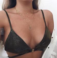 Bohemia Women Multi-layer Chain Pendant Circle Moon Choker Necklace Jewelry Gift