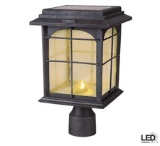 Post Lantern Solar Powered Outdoor Hand Painted Sanded Iron Seedy Glass Shade