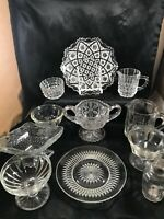 Vintage Clear Glass Depression Misc 11 Piece Lot