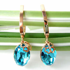 Navachi 18K GP Crystal Oval Blue Zircon Leverback Earrings BH2222