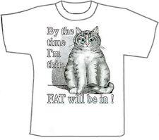 Funny T-Shirts.. Fat Black /White Cat. White Cotton (M)