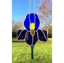 Handmade Stained Glass Iris Flower Suncatcher Tiffany Glass Technique Blue Glass