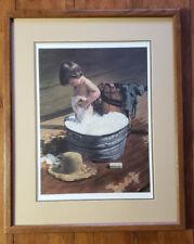 """Saturday Night by Jim Daly Original 406/950 Signed Art Print Boy Bath Tub 14x18"""""""