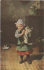 Kind mit Katze, Katzenmütterchen, alte Ansichtskarte von 1919, cat, chat