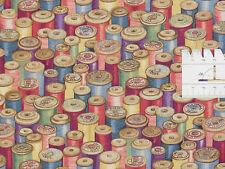 15,82€/m² => 25cmx110cm: NÄHEN - Haberdashery Cotton Reels - Patchworkstoff