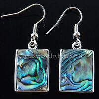 New Zealand Abalone Shell Oblong Beads Dangle Earrings Pair R028