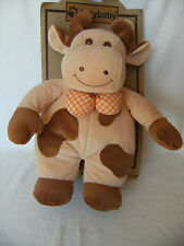 """Jolly Baby plush rattle cow Priscilla Larson, baby's first toy still on card 14"""""""