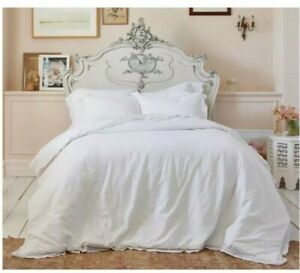 Simply Shabby Chic Crochet Trim Linen Blend Comforter Set, TWIN, White