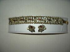 Vintage CORO Pegasus Goldtone Yellow-Topaz-Olive Rhinestone Bracelet & Earrings