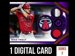 MIKE TROUT ANGELS TRIBUTE 2021 S2 PURPLE TRIPLE RELIC Topps BUNT DIGITAL CARD