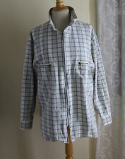 Blue Willis -Sz M Denmark Women's Natural Indigo Plaid Cotton Zip-Up Jacket