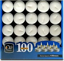 100 Pack Tea Light Candles  4 hours burn White Unscented Tealights