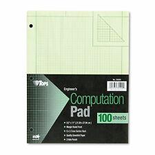 Tops Engineering Computation Pad 8 12 X 11 Green 100 Sheets 35500