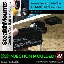 2x Black MAKITA BATTERY Mount Holder for Shelf, Rack, Stand, Holder, Slots