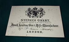 Stephen Grant gunmaker riproduzione carta Gun Case Accessori etichetta