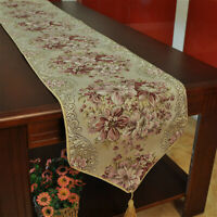 Jacquard Table Runner Retro Floral Embroidered Tablecloth Tassel Dining Kitchen