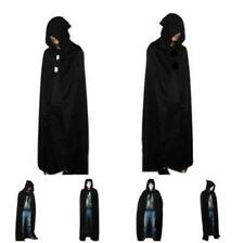 Pop Black Hooded Cloak Wicca Robe Medieval Witchcraft Cape Halloween Costume J