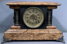 19thC Antique Victorian Era Seth Thomas Painted Marble Old Wood Mantel Clock