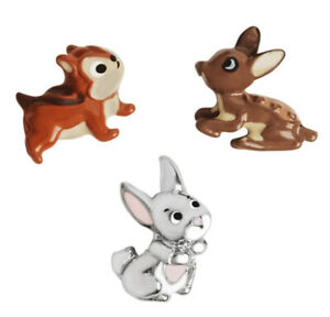 SET OF 3 Disney Origami Owl WOODLAND CRITTERS Floating PRINCESS Charms