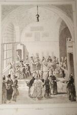 TURQUIE DIVAN DINER VIZIR AMBASSADEUR EUROPEEN  1840 GRAVURE PRINT  T83