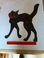Lrg Old Vintage Halloween Cardboard Jointed Diecut Die Cut Out Cat Beistle Luhrs