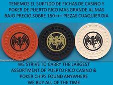 3 old Ron BACARDI RUM Red White Black Casino Poker Bar Chip DARK BAT Puerto Rico