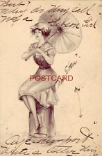 """1911 """"Gibson Girl""""-style illustration GIRL WITH PARASOL"""