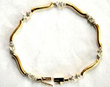 "14K Solid Gold, Diamonds and Aqua Bracelet  7"" Long"