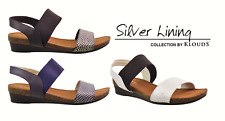 Klouds Shoes - Comfort wedge leather Sandals - Silver lining Hannah - 5 colours