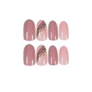 Pink Glitter Stripe Designs Artificial Nail Tips Full Cover False Nails Decor