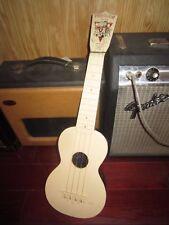 Vintage Circa 1960s Maccaferri Playtune Soprano Ukulele White Cool Vintage Vibe!