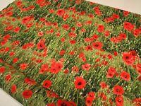 Designer! Red Poppy Garden *Digital* Cotton Fabric Curtain Upholstery Blinds