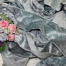 "1y 2"" French Gray Blue Silk Crushed Velvet Lace Ribbon Trim Boho Doll Jacquard"