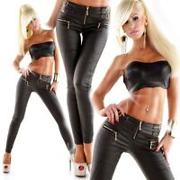 Women's Black faux leather stretch pants skinny jeans Biker Goth style  6 -14
