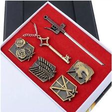 Attack on Titan Shingeki No Kyojin Badge+Weapons+Key Pendant Necklace Survey Cor
