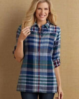 Soft Surroundings Size Small S Primarily Plaid Popover Tunic Top Cotton Blue Red