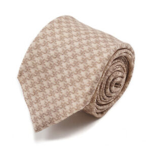 Isaia Light Brown and Cream Houndstooth Check Print Soft Wool Tie NWT