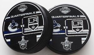 2 NHL Western Conference Quarterfinals Vancouver Canucks / LA Kings Hockey Pucks