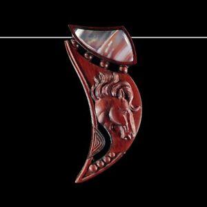 Carved Horse WOOD Designer Bead GE700005