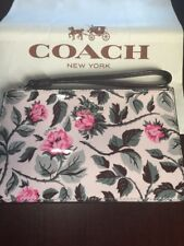 NWT Coach Wristlet in Pink Patent Leather Sleeping Rose Floral Print. Sold Out!!