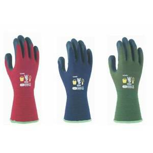 Towa With Garden Kids Gardening Gloves for Ages 3/4 years. Navy, Red or Green