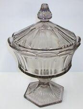 Antique Large Lidded Flint Glass Compote Purple Tint