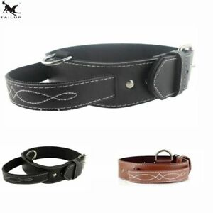 Dog Collar Chain Strap PU Leather With Handle Softy Foam Padding Adjustable