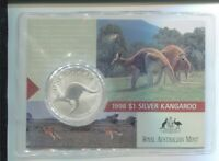 1998 1oz .999 Silver Coin $1 Kangaroo UNC Australia one ounce in PVC Slip