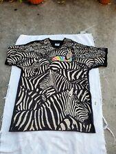 Rare Vintage Liquid Blue Zebra All Over Print Shirt By Greg Genrich Size XL 1993