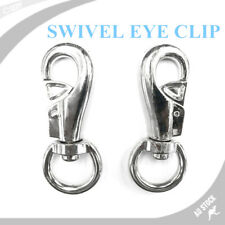 100mm PAIR OF Swivel Eye Snap Chrome Steel Marine Hook Dog Chain Clip