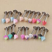 20Pcs Metal Labret Lip Bar Tragus Helix Tongue Ring Stud Upper Ear Piercing
