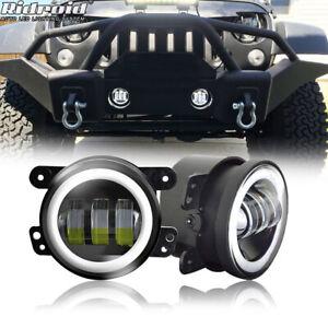 "Pair 4"" Inch 40W LED Fog Lights White Halo Ring DRL Lamps for Jeep Wrangler JK"