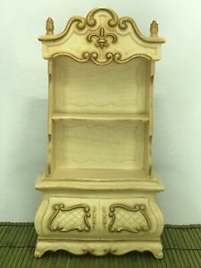 Vintage Barbie Susy Goose French Provincial Shelf Hutch Drawer Beige Gold Trim
